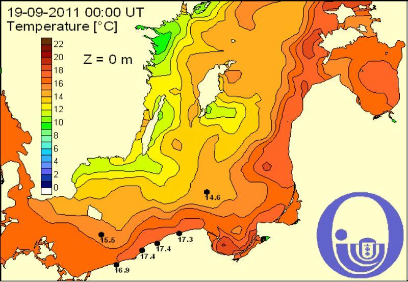 Temperatura Bałtyku 18.09/Pracownia Dynamiki Morza, IO,UG