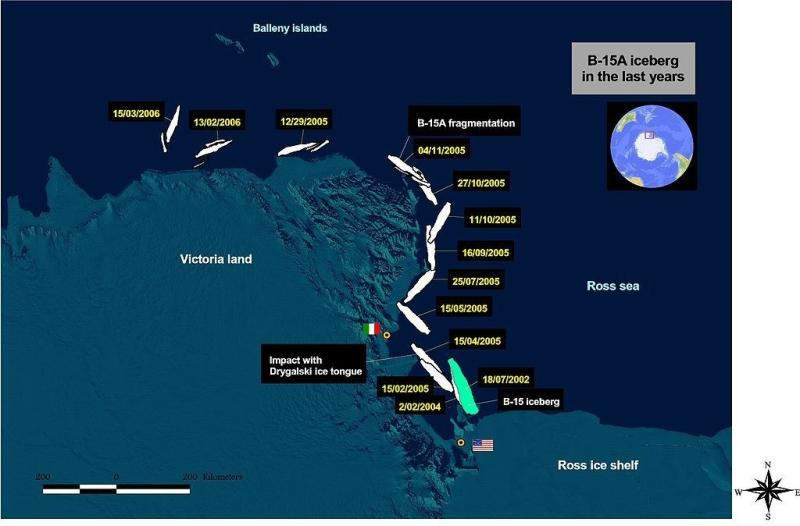 Czteroletnia podróż góry lodowej (NASA)
