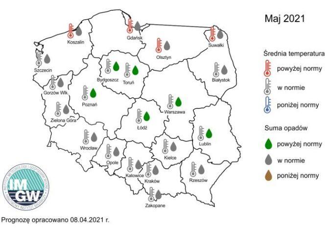 Prognoza średniej miesięcznej temperatury powietrza i miesięcznej sumy opadów atmosferycznych na maj 2021 r. (IMGW)