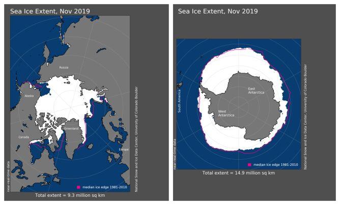 Zasięg pokrywy lodowej w listopadzie 2019 (NOAA)