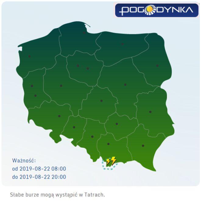 Prognoza burzowa IMGW (między godziną 8 a 22 w czwartek) (pogodynka.pl/prognozaburz)
