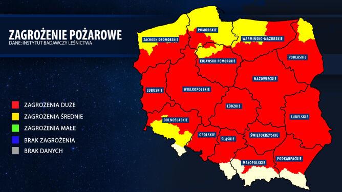Mapa aktualnego zagrożenia pożarowego (bazapozarow.ibles.pl/zagrozenie)