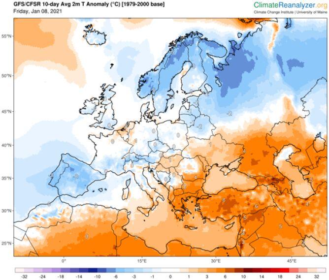 """Prognoza odchylenia """"na minus"""" temperatury średniej od normy na najbliższe 10 dni w Europie (ClimateReanalyzer.org)"""