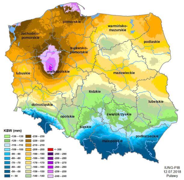 Susza rolnicza w Polsce - stan z lipca 2018 roku (IUNG)