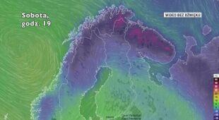 Temperatura w Finlandii w sobotę i niedzielę (Ventusky.com)